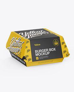 Paper Burger Box Mockup – Halfside View (High-Angle Shot) Preview