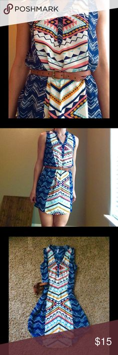 """🍂Adorable tribal print shift dress. Cute everyday dress with colors of navy, rose, aqua and marigold. Lightweight and can be styled many ways. Dress measures about 34"""" in length and 17"""" at chest. Excellent condition. Clutch not included. Shoes sold separately. Home is smoke and pet free. 🌺 Xhilaration Dresses Midi"""