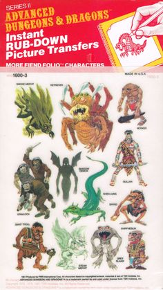 Advanced Dungeons and Dragons Picture Transfers (More Fiend Folio Characters)…