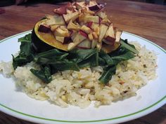 apple & pine nut stuffed squash with chard & herbed rice