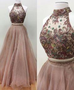 Sparkly beaded halter high neck 2 peices prom dress,senior prom 2017 dress