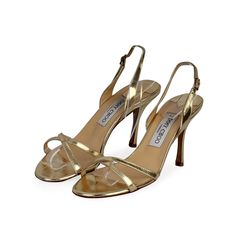 Jimmy Choo designs never fails to grasp any fashionista's attention. Wear these with a party dress for a brighter look.  ITEM CONDITION: Pre-owned – Very good condition.  SUPPLIED WITH: These shoes are supplied with their original Jimmy Choo dust bag.  SIZE: 37 – (UK size 4)  THE LEFT SHOE: Very good condition – With normal signs of wear.  THE RIGHT SHOE: Very good condition – With normal signs of wear. Metallic Leather, Jimmy Choo, Fails, Dust Bag, Indie, Party Dress, Shoe, Signs, Sandals