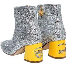 Chiara Ferragni Women 55mm Flirting Glitter Ankle Boots (1.510 RON) found on Polyvore featuring women's fashion, shoes, boots, ankle booties, ankle boots, zipper ankle boots, mid heel booties, zip boots and side zipper boots