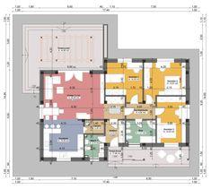 Proiecte de case mici fara etaj - optiunea ideala Mini House Plans, Two Storey House Plans, Modern House Plans, Small House Plans, House Floor Plans, Duplex House Design, Modern House Design, Architectural House Plans, Terrace Design