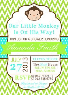 monkey baby shower invitation - girl baby shower invite pink green, Baby shower invitations