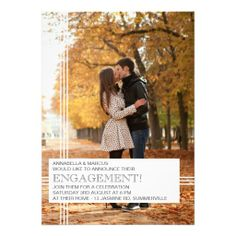 Modern Stripes Engagement Party Photo Invitation