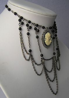 goth victorian necklace with lady cameo xl chocker medieval vampyre lolita tudor romantic gothic boho