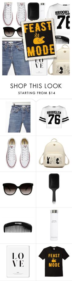 """""""Feast Mode"""" by bluebellandfrangipani ❤ liked on Polyvore featuring RE/DONE, Boohoo, Converse, GHD, shu uemura and Calvin Klein"""