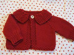 Hand knit baby sweater.........red cardigan by firstsnowflake. Perfect for the holidays!