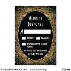 Black and Gold Foil Art Deco Wedding RSVP Cards