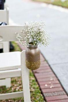 Mason Jar Ceremony Aisle Decor // Glittery Gold and Black DIY New Year's Eve Wedding // Caroline & Evan Photography