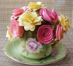 Paper Flower Arrangement in Tea Cup and Saucer