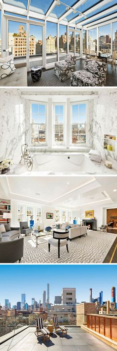 This Upper East Side penthouse has three floors! The NYC apartment is the height of penthouse luxury. You have never seen a New York City apartment like this. Click the pin to explore this luxury mansion penthouse home. New York Penthouse, New York Apartment Luxury, Luxury Penthouse, Penthouse Apartment, London Apartment, Luxury Apartments, Luxury Homes, Apartment View, City Apartments