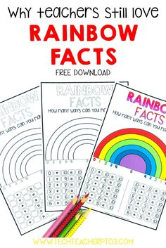 Teachers love Rainbow Facts as a maths strategy for teaching addition because they are so easy to learn. Students can easily memories their number facts by using these fun worksheets. Download the free worksheets and find more teacher resources for free! #techteacherpto3