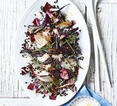 Smoked mackerel & beetroot salad with creamy horseradish dressing. A creamy horseradish, lemon and soured cream dressing lifts smoky mackerel, sweet beetroot, earthy lentils and bitter radicchio to a new level