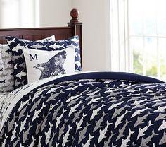 Shark Comforter & Sham Great for Jack! Shark Bedroom, Ocean Bedroom, Kids Bedroom, Megalodon, Man Room, Decoration, Comforters, Shark Week, Home Decor
