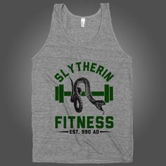 Slytherin Fitness on an Athletic Grey Tank Top