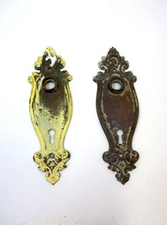 Art Nouveau Door Knob Back Plates Yale & Town French Door Plates Ornate Brass Escutcheons Restoration Hardware Salvage Wedding Decor DD 1280 by donDiLights on Etsy
