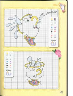 From foreign mag Cross Stitch Baby, Cross Stitch Flowers, Cross Stitching, Cross Stitch Embroidery, Beauty And The Beast Cross Stitch, Stitch Character, Disney Stitch, Disney Beauty And The Beast, Knitting Charts