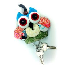 NEW PRETTY MULTI COLOR FABRIC HANDCRAFT OWL KEYCHAINS KEY CAP COVER
