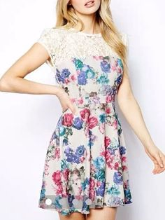 Buy Floral Printed &comfortable Lace Patchwork Skater-dress online with cheap prices and discover fashion Skater Dresses at Fashionmia.com.