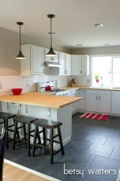 Beautiful Slate Kitchen Floors with White Cabinets