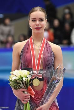Anna Pogorilaya of Russia (gold) poses on the podium during the ISU Grand Prix of Figure Skating NHK Trophy on November 26, 2016 in Sapporo, Japan.