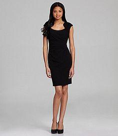 6b8b3d9000 Calvin Klein Side-Ruched Luxe Sheath Dress