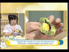 Tapete de crochê com flor pipoquinha -  Cristina Luriko