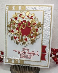 SU! Wondrous Wreath stamp set and Framelits; Petals of Plenty embossing folder; brushed gold, gold foil and Cherry Cobbler paper; gold, Cherry Cobbler and white embossing powder - Vicki Burdick