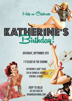 Birthday Party Invitation : Vintage Pin Up by BrownDogPress