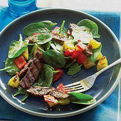 Inspired by the grilled pineapple she'd had at Rodizio Grill, a Brazilian restaurant in Salt Lake City, TJ Marsh created this winning salad for one of our reader challenges. Pre-slicing steak is a great way to get long-marinated flavor in a short amount of time.