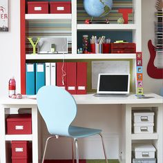 Smart study area in teenage boy's room