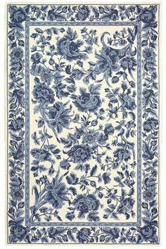 Image detail for -Dollhouse miniature French Country Shabby Blue floral toile area rug ...