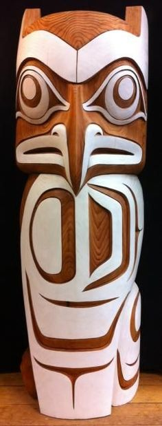 Terry Horne Owl Totem exploring white paint as negative space. but why is this owl so pissed off? American Indian Art, Native American Art, American Symbols, American Women, American Indians, American History, Tree Carving, Wood Carving, Native Indian
