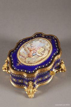 Bresse blue enamel casket with gallant scene
