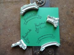 Handmade By: Hand Carved Unmounted Stamps, Craft, Made By Me, Personalized, Label, Customized, by TheFoxesTail on Etsy