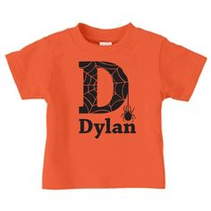 Personalized spider initial Halloween tshirt for by PricelessKids, 16.00