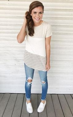 Emma-Oatmeal. Oatmeal color block short sleeve tee with distressed jeans and white sneakers. Color block tee. Summer tee.