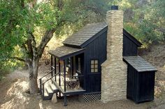 Design Ideas, Black Color Applied On Exterior Wooden Wall Of Country Home That Have Natural Stones Chimney Also Perfected With Pretty Small Front Porch: Excellent Ideas Allow It to Be Beautiful and to Decorate Your Front Deck