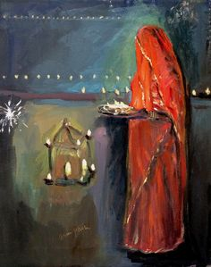"""A Diwali Greeting card from Oil Paintings of INDIA; oil on canvas, 16x20"""" by Arun Prem @ www.oilpaintingsofINDIA.com"""