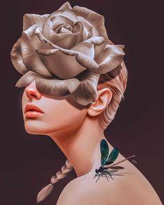Arte Digital Fantasy, Digital Art Girl, Digital Portrait, Portrait Art, Surealism Art, Photographie Portrait Inspiration, Surreal Artwork, Surrealism Painting, Wow Art