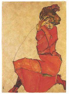 Egon Schiele, Kniendes Mädchen in orangerotem Kleid (Kneeling Girl in Orane Dress) on ArtStack #egon-schiele #art