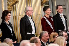 Kungaparet och Kronprinsessparet Svenska Akademiens högtidssammankomst i Börshuset. Foto: Jonas Ekströmer/TT