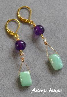 Green jade beads and Amethyst bead from Lisa Astrup Art & craft by DaWanda.com