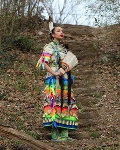 Nee row=new coloured ribbon Native American Dress, Native American Regalia, Native American Beauty, Native American Photos, India Linda, Jingle Dress Dancer, Cheyenne Indians, Powwow Regalia, Ribbon Skirts