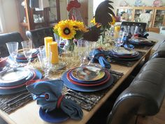 The Welcomed Guest: Roosters and Sunflowers Tablescape