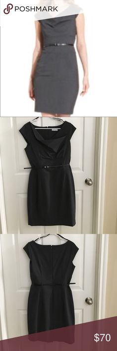 Calvin Klein Belted Dress Calvin Klein Belted Dress, cute neckline, comes with belt, EUC, only worn a few times, great for work Calvin Klein Dresses Midi