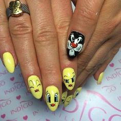 Banana Cocktail, Black Poison, Lazy Sunday Gel Brush, Paint Gel, Sugar Effect by Magdalena Żuk Indigo Educator Wrocław #nails #nail #indigo #yellow #lemon #twitty #sylwester #icon #gelpolish #cartoon