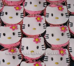 Coolest Kids Cupcake Ideas and Hello Kitty Cupcake Cake Designs Kid Cupcakes, Themed Cupcakes, Yummy Cupcakes, Ladybug Cupcakes, Snowman Cupcakes, Princess Cupcakes, Cupcake Cake Designs, Cupcake Cakes, Cupcake Ideas